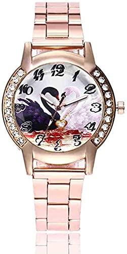JZDH Mano Reloj Reloj de Pulsera Moda Mujeres Cuarzo Relojes de Pulsera Swan Heart Ladies Rhinestone Vestido Reloj Hembra Banda de Acero Inoxidable Relogiono Relojes Decorativos Casuales