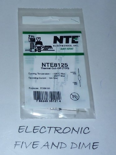 NTE Electronics NTE8125 Thermal Cutoff Fuse, Axial Lead, Non-Resettable, 128 Degree C Functioning Temperature, 15 Amps