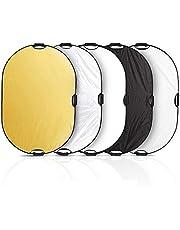 Selens 5 en 1 Reflector de Luz Oval 80x120CM Plegable Portátil con Asa Iluminación Estudio Fotográfico Fotografía al Aire Libre, Color Negro, Blanco, Oro, Plata, Translúcido