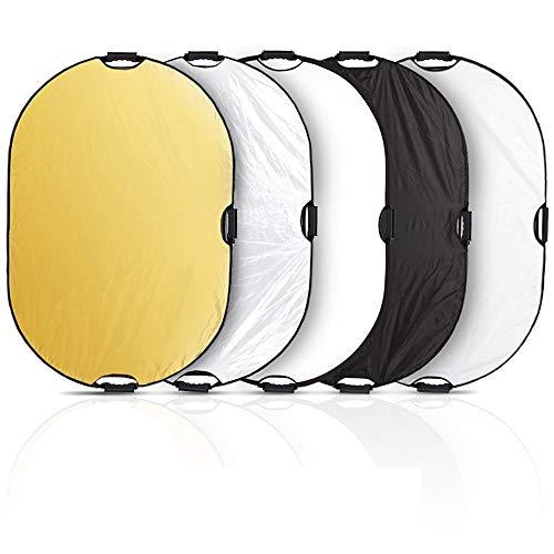 Selens - Reflector Ovalado 5 en 1, de 60 x 90 cm, con Mangos, para iluminación en Estudio de fotografía y al Aire Libre