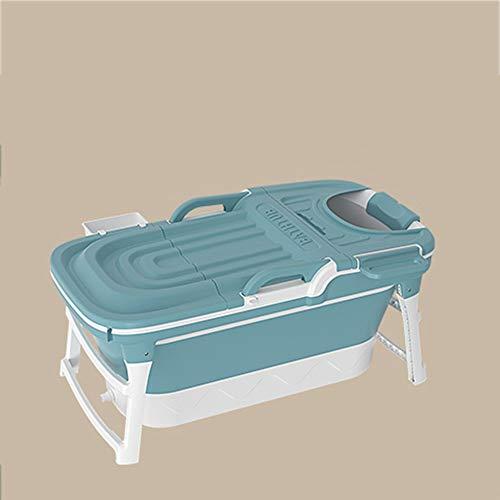 B&G Bañera Plegable para Adultos, Bañera para Niños Adultos para Adultos, Bañera De Baño De Cuerpo Completo, Cubo De Baño De Bebé, Bañera Azul con Tapa,Azul,142x60x58cm