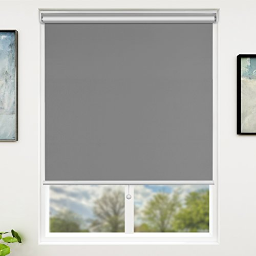 SUNFREE Grey Blackout Window Shades Cordless Window Blinds with Spring Lifting System for Home & Office, 33 x 72 Inch