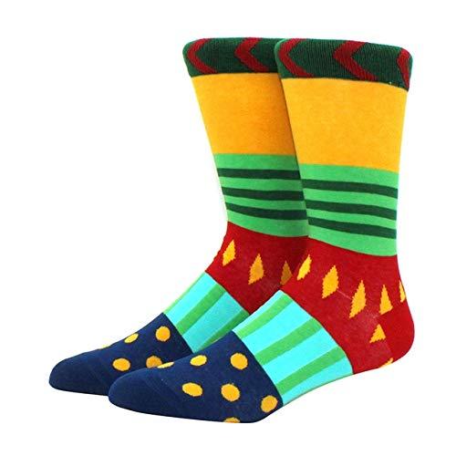 Calcetines para Hombres patrón Hip Hop Hombres Invierno Engrosamiento Largo monopatín Divertidos Calcetines Coloridos 2 Pares-a8
