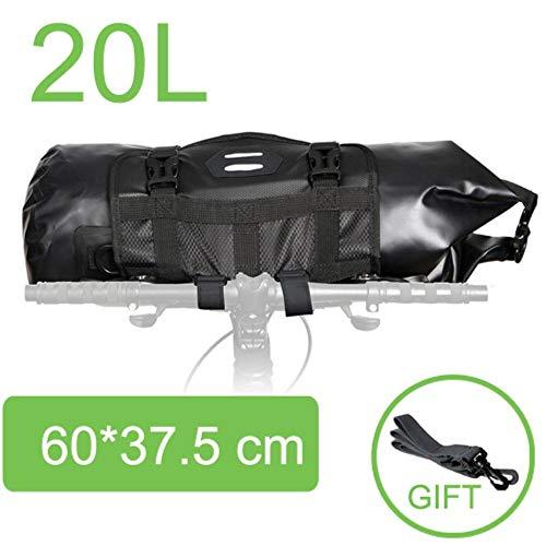 Piero Bike Front Tube Bag Waterproof Fietsstuurmand Pack Fietsen Frontframe Fietsaccessoires, 20L Zwart