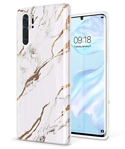 GVIEWIN Carcasa de Mármol para Huawei P30 Pro, Estuche para Teléfono de Gel de Goma TPU Ultra Delgado Brillante y Suave Compatible con Huawei P30 Pro 6.47 Inch 2019 (Blanco/Oro)