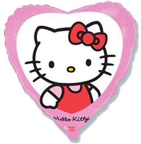 Globo Metalizado Foil Hello Kitty EN Forma DE CORAZÓN DIÁMETRO 45 CM Especial para Fiestas DE CUMPLEAÑOS