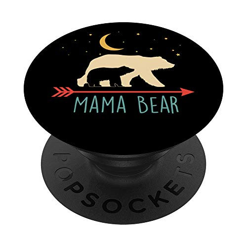 Mama Bear Gift - Retro Mama Bear with 1 Cub PopSockets PopGrip: Swappable Grip for Phones & Tablets