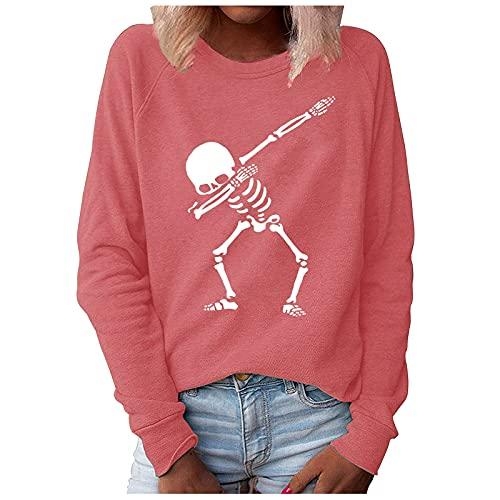 Wave166 Camisa de Halloween, monocolor, tops de baile con patrón de esqueleto, camiseta holgada, informal, manga larga, cuello redondo, moda callejera, carnaval, fiesta, Rosa., XL