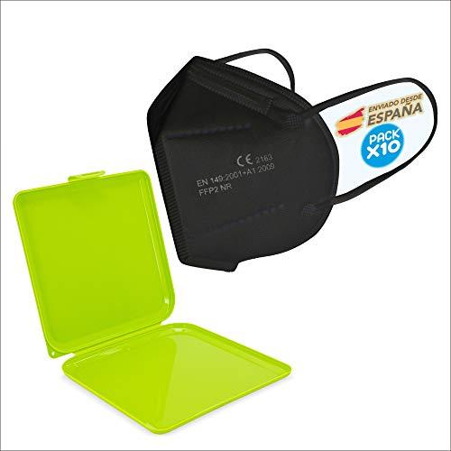 10x schwarz FFP2 Mundschutz Maske, CE-Zertifikat Masken 10 Stück einzelverpackt + Maskenschutz,