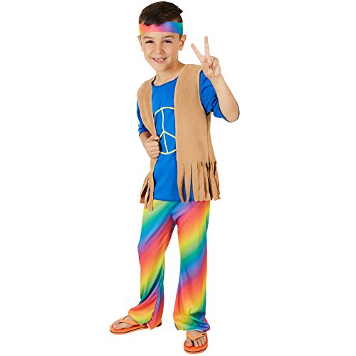 dressforfun Costume da Bambino - Boy Peacemaker   T-shirt Bella e Comoda   Vivaci Pantaloni a Zampa D'elefante   Incl. Gilet e Graziosa Fascia per Capelli Hippie (11-12 anni   No. 300909)