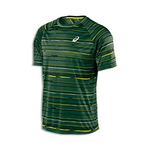 ASICS Herren Club Graphic Kurzarm T-Shirt, Herren, Graphic Stripe Eiche Grün, Small