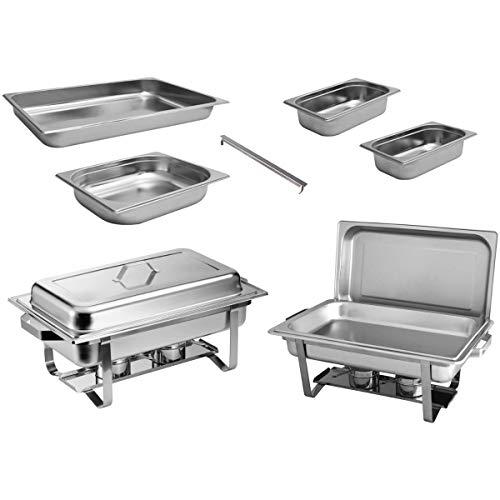 ZORRO - 2x Chafing Dish Speisewärmer Profi Set 15-Teilig in Gastro Qualität Warmhaltebehälter Edelstahl Buffet-Set
