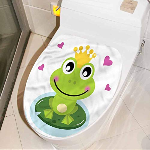 Kids Wall Decals Animal, Cartoon Frog Prince DIY Removable Toilet Bathroom WC Wall Sticker for House Decoration 17 x 21 Inch