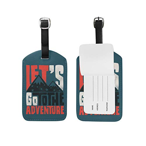 Navy Theme Go to Adventure Leather Travel Luggage Tags Set Funny Personalized PU Bag Suitcase Labels with Strap Cable Identification Card for Women Kids Men Girls Boys 1 Pieces Set