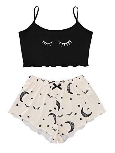 DIDK Damen Cami Schlafanzug Set Spaghettiträger Crop Top Short Sets Süßer Pyjama Sommer Schlafanzüge Schlafi Schwarz-Beige S