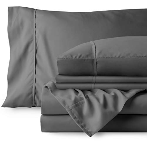 Bare Home 4 Piece 1800 Deep Pocket Bed Sheet Set  Twin Extra Long  UltraSoft Hypoallergenic  2 Pillowcases Twin XL Grey