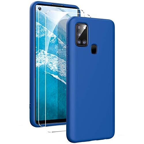 Oududianzi - Hülle für Samsung Galaxy A21s Hülle Weiches Flüssige Silikon + [2 Stück Panzerglas Bildschirm Schutzfolie], Reiner Farbe Superdünne Stoßfeste Gummihülle - Blau