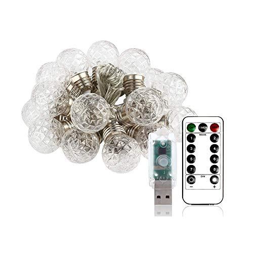 LXD Globus Solarlichter Weiß/Kristall Kugel String Licht, Wasserdicht Outdoor Hängende Beleuchtung Dekoration Für Patio Garten Porch Zaun Weihnachtsbaum Yard Party
