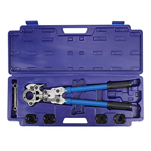 Crimpzange Set Presszange V-Kontur Rohrpresszange 15-18-22-28 mm, 360° schwenkbaren Kopf, für Kupferrohr und Edelstahlrohre verwendbar