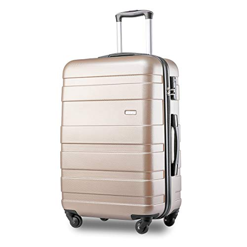 Lightweight Hard Shell 4 Wheel Travel Trolley Suitcase Luggage Set Holdall Cabin Case (S, Golden)
