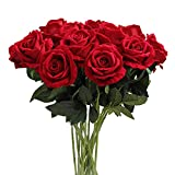 Amzali Artificial Flowers, Real Looking Blush Fake Rose Long Stem Silk Artificial Rose Flowers Home Decor for Bridal Wedding Bouquet, Centerpieces Birthday Flowers Party Garden Floral Arrangement Red