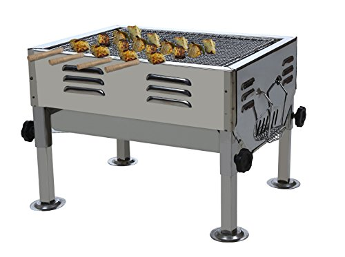 Fabrilla Portable Charcoal Barbeque Grill Set (Silver)