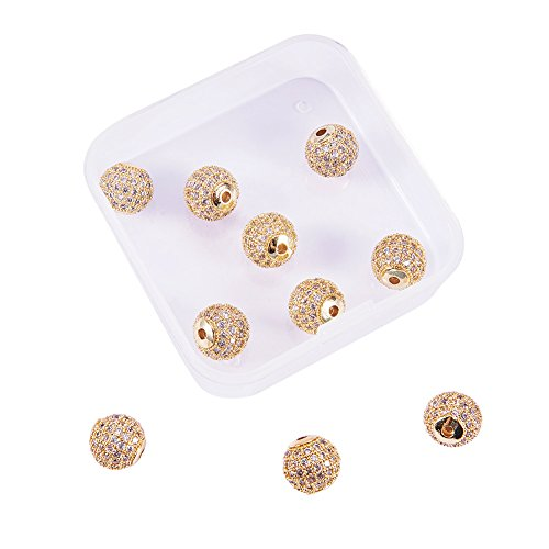 NBEADS 1 Box of 10 Pcs 10mm Crystal Cubic Zirconia Pave Micro Setting Round Beads Pave Disco Ball Spacer Beads Brass Bracelet Connector Charms for Jewelry Making, Golden