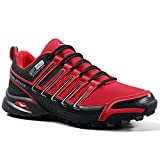 Men's Trail Running Shoes Outdoor Hiking Sneakers Lightweight Non Slip Trainer for Walking Camping Trekking Backpacking (Red, Numeric_10)