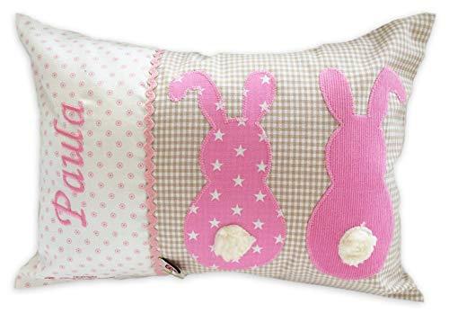 Glückspilz Namenskissen Babykissen I Hase Kaninchen I Kissen mit Namen personalisiert I Geschenk zu Geburt, Taufe, Ostern oder Geburtstag I verschiedene Farben (Beige/Pink, 25 x 35 cm)