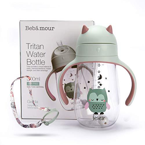 Bebamour Trinklernbecher Baby Sippy Cup Auslaufsichere Trinkflasche für Kinder Auslaufbecher mit Strohhalm für Kleinkinder, BPA-frei, 300ml - Grüne Eule