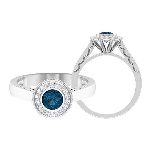 Piedra de nacimiento de diciembre — 5,00 mm anillo solitario de topacio azul Londres, anillo de compromiso con halo de diamante HI-SI, 14K Oro blanco, Size:EU 66