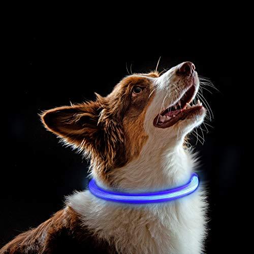 Heyu-Lotus LED-Licht-Halsband für Hunde, USB wiederaufladbare LED-Hundehalsband-Leuchten mit 3 Beleuchtungsmodi, Haustier-Sicherheits-Halsband für Hunde & Katze (blau)