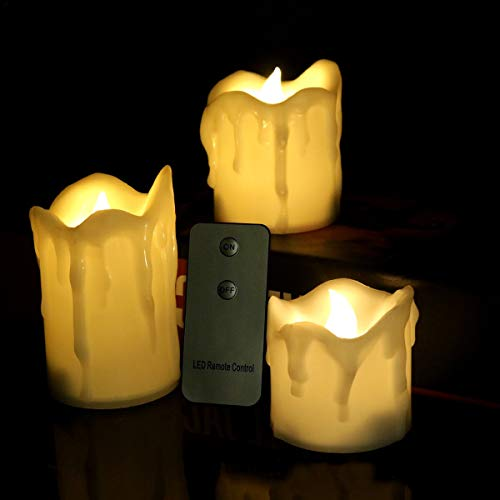 KASILU DIY Decorations Flameless Tears Drop Remote New Year Candles Battery Powered Led Lights Tealights Led Fake Candle Light Easter Candle Home Decor (Color : Light Warm)