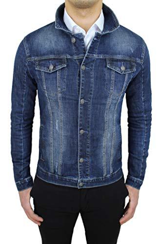 Mat Sartoriale Giubbotto di Jeans Uomo Blu Scuro Denim Casual Giacca Giubbino Slim Fit (l)