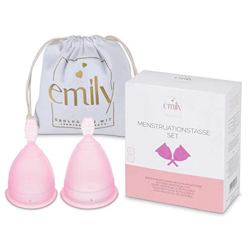 Wiederverwendbare Menstruationstasse 2 Größen im Set - Praktische & zuverlässige Alternative zu Tampons & Binden (Pink)