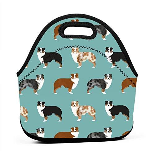 Australian Shepherds Dogs Neoprene Lunch Bag Insulated Lunch Box Tote for Women Men Adult Kids Teens Boys Teenage Girls Toddler