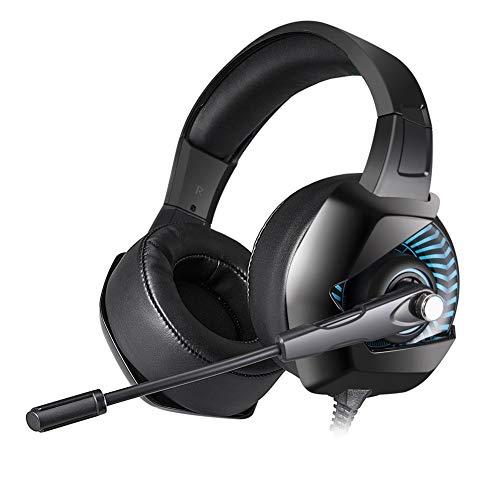 Juzhang Auriculares for Juegos Auriculares ergonómicos estéreo con Aislamiento de Ruido sobre la Oreja for PC, Xbox One, PS4, Nnintedo Switch Azul y Blanco (Color : Blue)