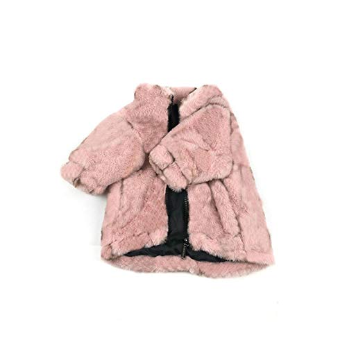 Pet Clothes Chaqueta de invierno para perro de diseño de moda gruesa capa de algodón lindo carlino chihuahua bulldog francés Yorkshire cachorro ropa S-XL-Rosa-L