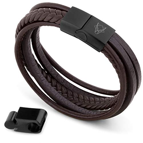 Akitsune Pax Lederarmband | Armschmuck Damen Herren Magnetisch Armband - Mattschwarz - Braun 21cm