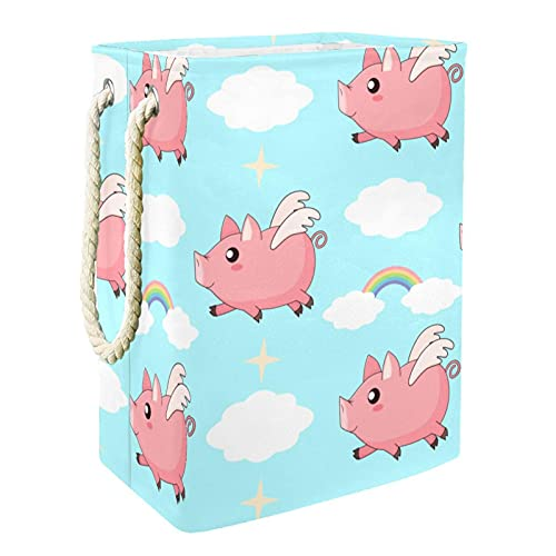 Laundry Basket Flying Angel Pig Pink Cloud Rainbow Blue Sky Foldable Laundry Hamper with Handles Detachable Brackets Well-Holding Waterproof for Clothes Toys Organization in Laundry Room Bedroom