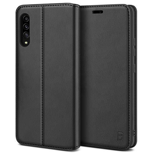 BEZ Handyhülle für Samsung Galaxy A90 Hülle, Premium Tasche Kompatibel für Samsung A90 5G, Tasche Hülle Schutzhüllen aus Klappetui mit Kreditkartenhaltern, Ständer, Magnetverschluss, Schwarz