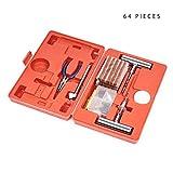 64 Pezzi - Kit di Riparazione Pneumatici Emergenza - Riparazioni di Tutti i Tipi di Pneumatici Tubeless, Gomme su Moto, Auto, ecc| Affidabile, Portatile e Facile da Usare.