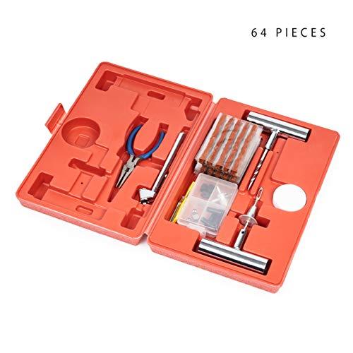 64 Piezas| Kit de Reparación de Pinchazos de Neumáticos - Confiable, Portátil y Fácil de Usar - Repara Todo Tipo de Neumáticos Tubeless en Moto, Coche, etc| para Viajes, Emergencias.