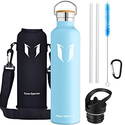 Super Sparrow Trinkflasche - 620ml / 1000ml - Wasserflasche Doppelwandig Vakuum Isoliert Edelstahl - Auslaufsicher Sport Trinkflaschen   Ideale Flasche - BPA-freie - 2 Deckel + Tragetasche