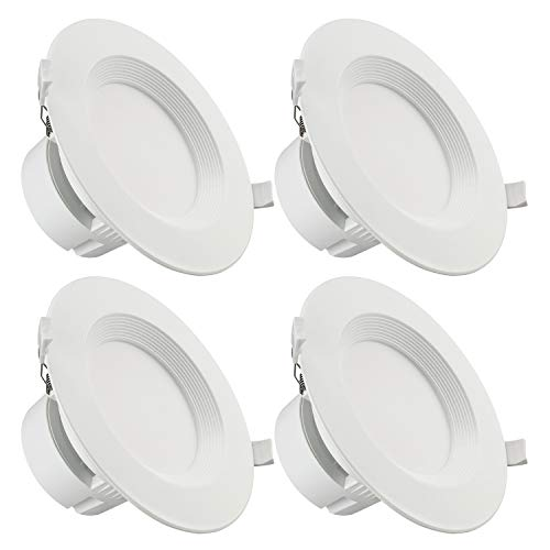 "TORCHSTAR 4 PACK 6"" LED Recessed Downlight with Junction Box, 9W (80W Equivalent) Dimmable LED Ceiling Light Fixture, IC-Rated & Air Tight, Wet Location, 2700K Soft White, UL-listed, 5 Years Warranty"