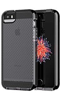scheda tech21 evo mesh custodia protettiva per apple iphone 5/5s/se 2018 refresh - grigio fumo/nero