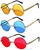 Set of 3 Pairs Round Retro Vintage Circle Style Sunglasses Colored Metal Frame OWL (43_Silv_Red_Blue_Yell, PC Lens)