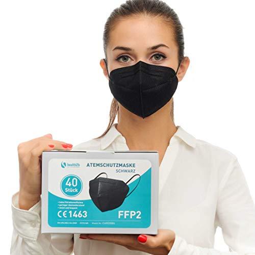 Health2b FFP2 Maske Schwarz CE Zertifiziert [40 Stück] CE1463 Atemschutzmaske Mundschutz, DERMATEST® sehr gut