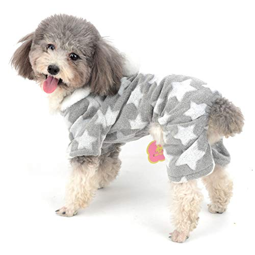 Ranphy Hunde-Pyjama aus Fleece, Overall für den Winter, für Mädchen und Haustiere, mit Kapuze, Chihuahua-Kleidung, Welpen-Schlafanzug, für kleine Hunde und Katzen