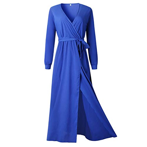 Maxi Abito da Sera per Donna con Maniche Lunghe Scollo a V a Maniche Lunghe Scollo a V (Color : Bright Blue, Size : L)